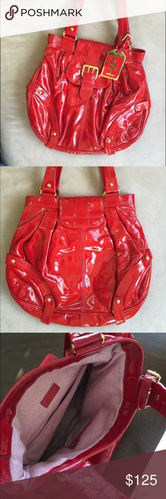 Dooney & Bourke limited edition Hayden handbag In MINT CONDITION. Never before used Dooney & Bourke Limited Edition Hayden bag in red patent leather. Retail value $500.  THIS BAG IS NOT IN PRODUCTION ANYMORE AND IS A COLLECTORS ITEM!  Pleating adds rich texture to a high-gloss patent leather bag designed by Hayden Panettiere. An oversized buckle and goldtone logo plate add chic details.  Magnetic snap-flap closure. Interior zip and cell phone pockets; key clip. Leather. By Dooney & Bourke…