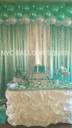 Tiffany and Co inspired theme balloons party, design backdrop bling drapes Tiffany Party, Tiffany Theme, Tiffany And Co, 15th Birthday, Birthday Parties, Decoration Communion, Shower Party, Bridal Shower, Deco Ballon