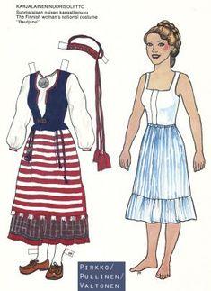 Kansallispukupaperinuket / Paper Dolls in National Costumes (Finnish) Paper Dolls, Costumes, Summer Dresses, Disney Princess, Disney Characters, Crafts, Fashion, Paper Puppets, Ladybugs