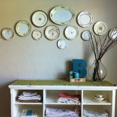 Antique plate display my mom did.