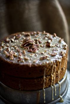 Squirrel Cake - Hazelnut Buttermilk Cake with a Maple Pecan Glaze