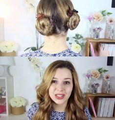 Mujer rubia con chongos y cabello rubio