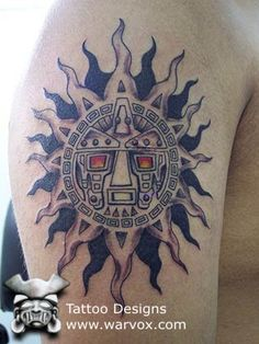 Tribal Sun Tattoo » ₪ AZTEC TATTOOS ₪ Aztec Mayan Inca Tattoo Designs Instant Download Sun Tattoos, Dream Tattoos, Celtic Tattoos, Back Tattoos, Cool Tattoos, Tatoos, Sun Tattoo Tribal, Tribal Sun, Inca Tattoo