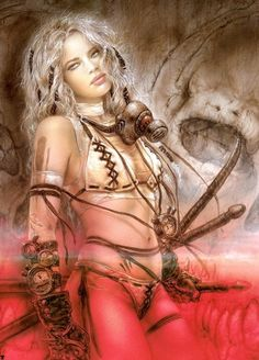 White haired warrior girl by Luis Royo
