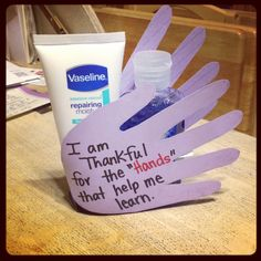 """Teacher Appreciation gift, I am thankful for the """"hands"""" that help me learn"""