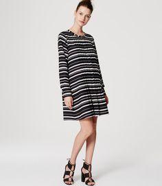 LOFT Petite Stripe Pintucked Dress