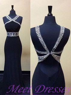 Charming Prom Dress Noble Halter Prom Dress Chiffon Backless Mermaid Black…