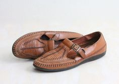 Vintage Woven Leather Buckle Moccasin Loafers by claudedonohoshop, $48.00