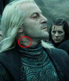 """In The Deathly Hallows Part you can spy Lucius Malfoy's Azkaban prisoner number tattooed on his neck. 19 Details From The """"Harry Potter"""" Movies That'll Make You Say, """"How Did I Not Notice That? Harry Potter World, Harry Potter Films, Harry Potter Fandom, Harry Potter Cosplay, Estilo Harry Potter, Arte Do Harry Potter, Harry Potter Tattoos, Hogwarts, Harry Potter Jokes"""