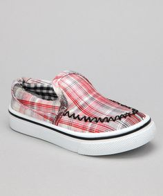Take a look at this Red Plaid Brian Slip-On Shoe by Wacky Willie on #zulily today!