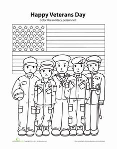 Veterans Day Kindergarten Coloring People Worksheets: Happy Veterans Day