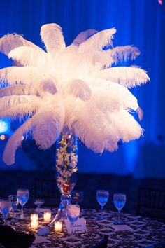 """Wedding Centerpieces for Kira and Glen's Drexelbrook Wedding. The Feather Centerpieces created a classic """"Old Hollywood"""" atmosphere for their Dream Wedding.    #phillywedding #phillycatering #centerpiece"""