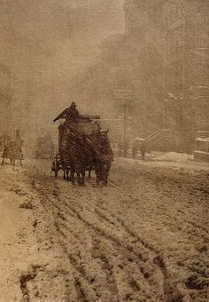 "Alfred Stieglitz, ""Winter, Fifth Avenue"" This is one of my very favorite photographs......love it!! gah!!"