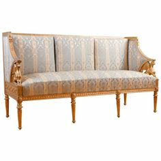 Early Gustavian period giltwood settee with applied empire gesso motifs by Carl Johan, Sweden c.1815