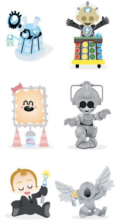 OMG! Dying of cute!   Originals found here: http://postitartist.blogspot.ca/2011/05/baby-versions-of-doctor-villains.html