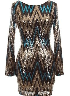 Party Starter Dress: Features a classic round neck framed by long, well-tailored sleeves, sexy rear V-design for subtle exposure, chevron-themed black, blue and gold sequin pattern covering the entire dress, and a beautiful form-fitting silhouette to finish.
