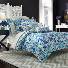 Collier Campbell Columbia Road Reversible Comforter Set, Blue