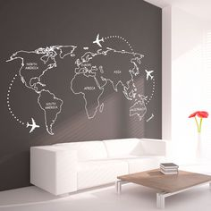 World Map Outlines With Continents Decal Large por homeartstickers
