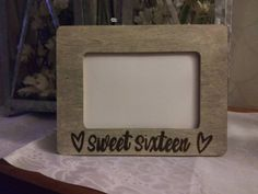 Sweet 16 Birthday Celebration  Rustic Engraved Wood 4 x 6 Picture Photo Frame