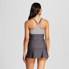 Women's Shirred Racerback #tankini Top - Library Gray Stripe - XL - Merona