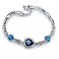 New Cz Blue Crystal Emeralds Silver Filled
