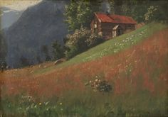 "catonhottinroof: ""Hans Dahl Landscape with log house """