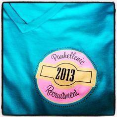Panhellenic Recruitment 2013 Circle Left Chest v-neck t-shirt.  Greek101 Sorority Life shirt
