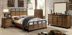 Mcville 4 Pcs Bedroom Sets - CM7558 Descriptions : A trending design, industrial style is the latest in fabulous decorating ideas! The platform style bed features beautiful wood panels adorned by smoo