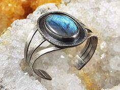 Labradorite Gemstone on Sterling Silver Cuff Bracelet - Danielle H. Ross, Metalsmith - http://www.gemstonejewelrybydanielle.com https://www.facebook.com/gemstonejewelrybydanielle https://www.etsy.com/shop/DanielleHRossJewelry