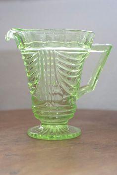 Green Depression Glass Jug by VivaVivaVintage on Etsy Glass Jug, Glass Pitchers, Cut Glass, Milk Glass, Antique Glassware, Fenton Glassware, Vintage Dishes, Vintage Pyrex, Vintage Kitchen