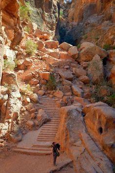 Escaleras talladas en la roca . Petra , Jordania . . .