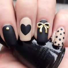 Black & Nude #valentinesday nails