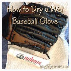 how to dry a wet baseball glove #baseball #howto
