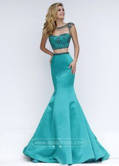 Radiant Two Piece High Illusion Neck Beaded Emerald Mermaid Prom Dress