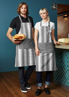 Unique chambray statement stripe apron. Great for Coffee shop, florist, homeware store uniform.  Embroidery logo/uniforms. activembroiderydesigns.com.au