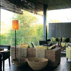love the natural textures and the pop of color that compliments the natural setting