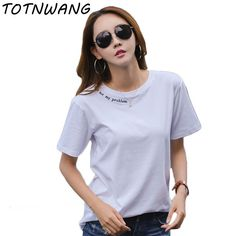 Letter Print T Shirt Harajuku Simple T-Shirt For Women Summer Casual Short Sleeve Cotton TShirt White Shirts Female Tops CS739  #style #instafashion #swag #glam #styles #cool #ootd #fashionista #instastyle #sweet