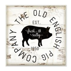 Stupell Decor Old English Pig Co Vintage Sign Wall Art - KWP-1066_CN_17X17