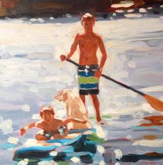 Elizabeth Lennie, Paddleboarding, x oil on canvas - Love her backgrounds Painting People, Figure Painting, Painting & Drawing, Summer Painting, Light Painting, Painting Inspiration, Art Inspo, Lake Art, Fashion Painting
