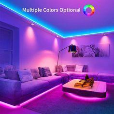 Neon Bedroom, Room Ideas Bedroom, Bedroom Decor, Bedroom Ceiling, Bedroom Setup, Rgb Led Strip Lights, Strip Lighting, Led Light Strips, Accent Lighting