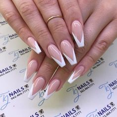 Reverse V French Manicure - Reverse V French Manicure Effective images that . - Uñas - Reverse V French Manicure – Reverse V French Manicure Effective images we provide on neon nails A - French Manicure Nails, Aycrlic Nails, Prom Nails, White Tip Acrylic Nails, Acrylic Nails Coffin Short, Colored Tip Nails, Pink Coffin, White Coffin Nails, Square Acrylic Nails