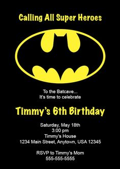 Kid's Birthday Party Invitation Batman by NestedExpressions, $20