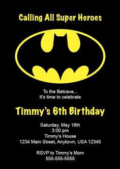 Kid's Birthday Party Invitation Batman by NestedExpressions, $20