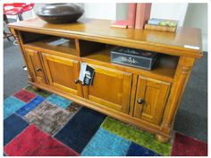 BURNISHED BROWN FINISH 4- DOOR ENTERTAINMENT UNIT Decor, Entertainment Unit, Brown Finish, Furniture, Storage, Home Decor, Furniture Auctions