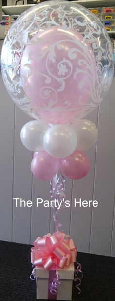Bubble Topiary with Bow. Simply gorgeous, especially for Christenings, Engagements, Anniversaries or Weddings. We can tailor these to suit your occasion, change the colour/s and bubble pattern. www.thepartyshere.com.au