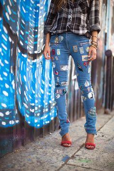 Rails Plaid Shirt 3.1 Phillip Lim Patch Covered Skinny Cargo Jeansvia Neiman Marcus Celine Heels