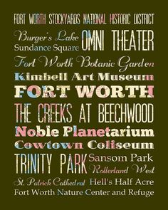 Fort Worth Texas Typography Poster/Bus/ Subway by LegacyHouseArt, Fort Worth Texas, Subway Art, Subway Signs, New York Public Library, Typography Art, New Art, Wall Art Decor, Attraction, My Love