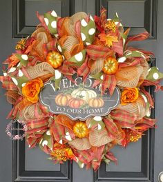 Deco Mesh Fall Wreath, Burlap Wreath, Pumpkin Wreath, Fall Wreath, Welcome Wreath, Front Door Wreath,  Welcome to Our Home, Autumn Wreath by CharmedHomeAccents on Etsy