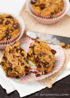 Pumpkin Banana Chocolate Chip Muffins #gluten_free #vegan #pumpkin_desserts