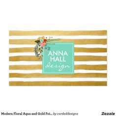 modern floral aqua and gold foil stripes business card